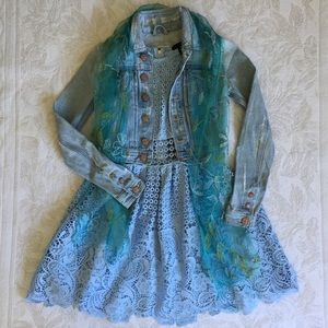 Aqua light blue lace dress sz S